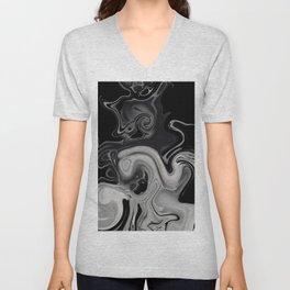 black and gray marble Unisex V-Neck