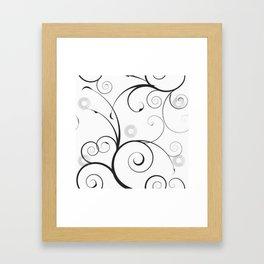 Black and Gray Swirls and Circles Framed Art Print