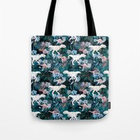 jurassic park Tote Bags featuring Jurassic by Bobo1325