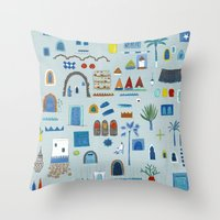 morocco Throw Pillows featuring Morocco Sketch by Nic Squirrell