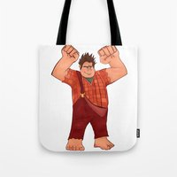 wreck it ralph Tote Bags featuring I'm Gonna Wreck It! by shaunaoconnor