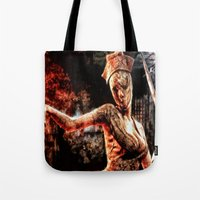 silent hill Tote Bags featuring Death By Medicine Silent Hill Nurses by Joe Misrasi