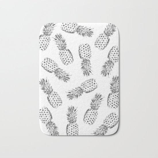 Pineapples Black and White Bath Mat