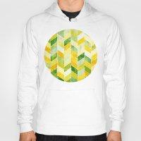 herringbone Hoodies featuring Green Herringbone by MirKat Design