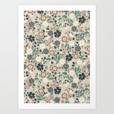 Flourishing Florals (Light-Green) Art Print