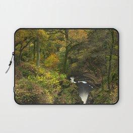 Bridge, steps and Autumnal woodland at Aira Force waterfall. Near Ullswater, Lake District, UK Laptop Sleeve