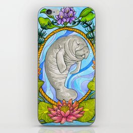 Manatee and Water Lilies iPhone Skin
