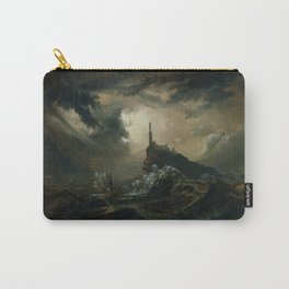 Carl Blechen - Stormy Sea with Lighthouse - German Romanticism - Oil Painting Carry-All Pouch