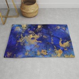 Gold And Blue Indigo Malachite Marble Rug