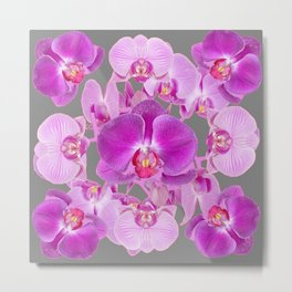 Ornate Pink & Purple  Butterfly Orchids  & Grey Colored Art Patterns Metal Print