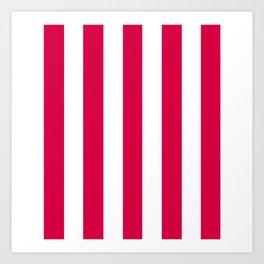 Carmine (M&P) fuchsia - solid color - white vertical lines pattern Art Print