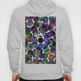Cluttered Circles III - Abstract, Geometric, Pastel Coloured, Circle Patterned Artwork Hoody