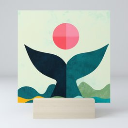 mid century whale sun sea Mini Art Print