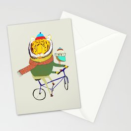 Tiger and Owl biking. Stationery Cards