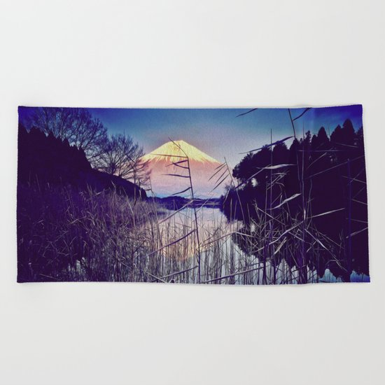 The Red in Deep Blue Beach Towel