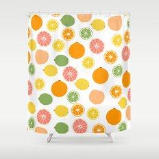 Orange Grapefruit Lemon Lime Citrus Pattern Shower Curtain