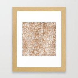 Vintage white brown grunge shabby floral Framed Art Print