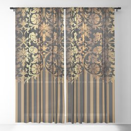 Gold and Black Damask and Stripe Design Sheer Curtain