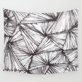 Freehand Zentangle Triangle Prism Doodle Design Wall Tapestry