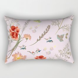 Spring field with poppy flowers and foliage Rectangular Pillow