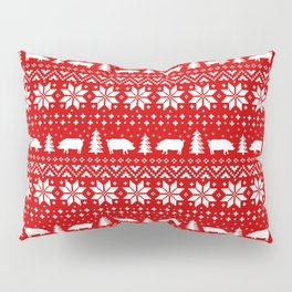 Pig Silhouettes Christmas Sweater Pattern Pillow Sham