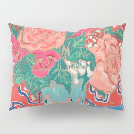 Roses in Enamel Flamingo Vase Pillow Sham