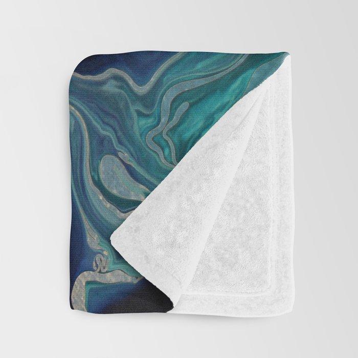 DRAMAQUEEN - GOLD INDIGO MARBLE Throw Blanket