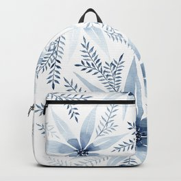 Winter Blue Flowers Backpack