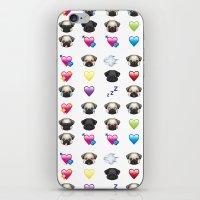 emoji iPhone & iPod Skins featuring Emoji Pug  by Huebucket