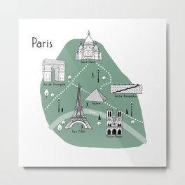 Mapping Paris - Green Metal Print