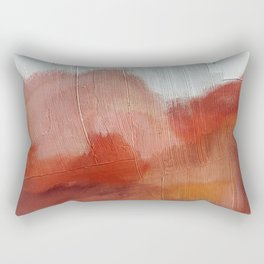 Desert Journey [2]: a textured, abstract piece in pinks, reds, and white by Alyssa Hamilton Art Rectangular Pillow