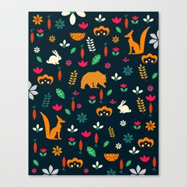 Cute little animals among flowers Canvas Print