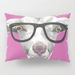 Goat with Glasses, Farm Animal Art Pillow Sham