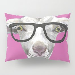 Goat with Glasses, Farm Animal Art Pillow Sham