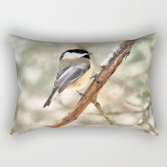 Clinging Chickadee Rectangular Pillow