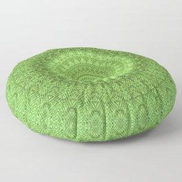 Sunflower Feather Bohemian Leaf Pattern \\ Aesthetic Vintage \\ Green Teal Aqua Color Scheme Floor Pillow