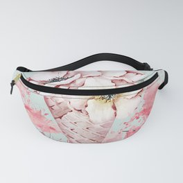 Pink & Teal Summer Fun Flower Ice Cream Waffle -Illustration Fanny Pack