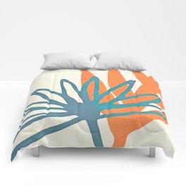 Mid Century Nature Print / Teal and Orange Comforters
