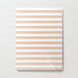 Narrow Horizontal Stripes - White and Desert Sand Orange Metal Print