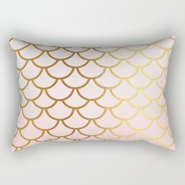 Pink Gradient And Gold Foil MermaidScales - Mermaid Scales Rectangular Pillow