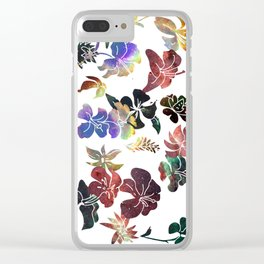 Tropical Flower Space Cut-Outs Clear iPhone Case