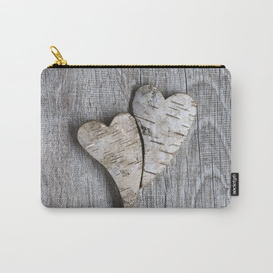 two wooden hearts love symbol Carry-All Pouch