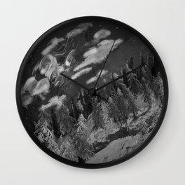 Winter mountain cabin Wall Clock