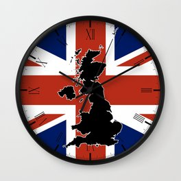UK Silhouette and Flag Wall Clock