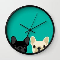 onesie Wall Clocks featuring 2 French Bulldogs by Anne Was Here
