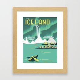 Vintage Mid Century Modern Iceland Scandinavian Travel Poster Ocean Whale Winter Village Framed Art Print