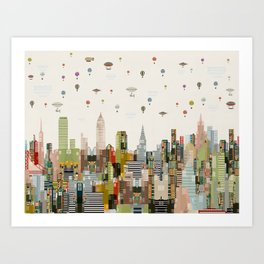 the great wondrous balloon race Art Print