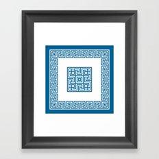 Greek Key blue Framed Art Print