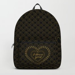 Elegant Gold Black Great Gatsby Hearts I Love You typography Backpack