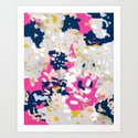 Michel - Abstract, girly, trendy art with pink, navy, blush, mustard for cell phones, dorm decor etc by charlottewinter
